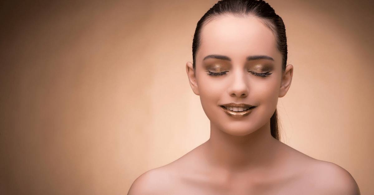 Woman with glowing makeup